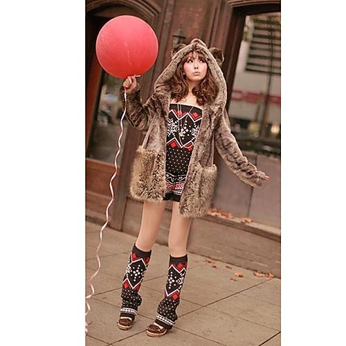 Мода длинным рукавом с капюшоном искусственного меха партии / случайных пальто Lightinthebox 1881.000