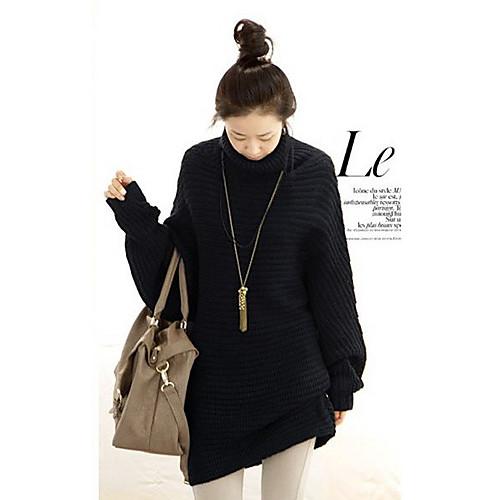 Высокие черные женские шеи свободный рукав мыса свитер Lightinthebox