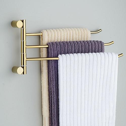 Твердый латунный 3 бара Поворотная вешалка для полотенец ванной комнаты Lightinthebox 3007.000
