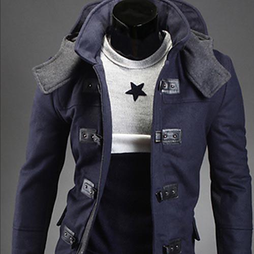 ВМС REVERIE UOMO Мужская Синий 2013 осень зима новый модель корейского Slim Fit балахон с длинным пальто Lightinthebox 1976.000