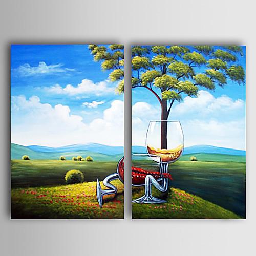 ручная роспись масляной живописи пейзажа с растянутой кадр - комплект из 2 Lightinthebox 3866.000