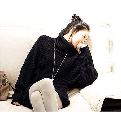 Высокие черные женские шеи свободный рукав мыса свитер