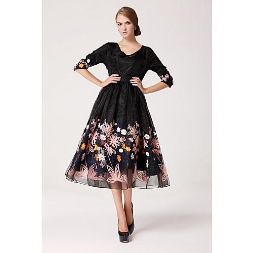 Миди-платье из органзы с рукавом ¾ в стиле ретро, цветочный мотив Lightinthebox 1256.000