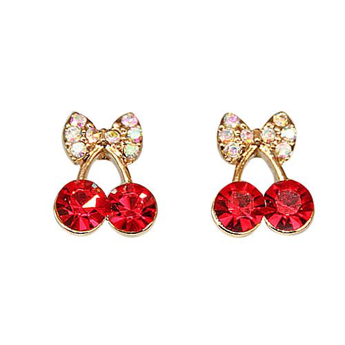 Симпатичные маленькие куски красной вишни тонкие серьги кольцо с бриллиантом Элегантный женский Корейский Корейский ювелирные изделия оптом E471 Lightinthebox 42.000