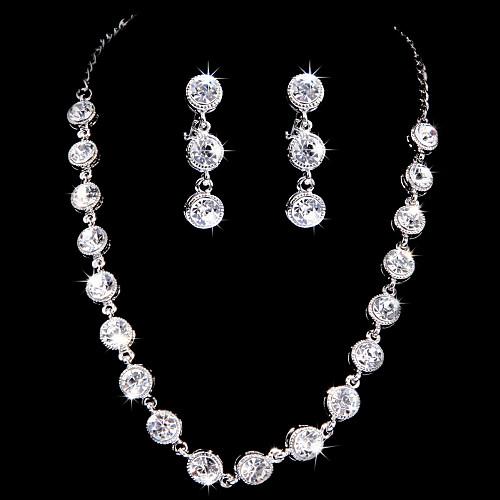 Изящные серебряные колесные диски с покрытием Ясно Циркон & Rhinestone Свадьба Свадебная комплект ювелирных изделий (в том числе ожерелья, серьги) Lightinthebox 624.000