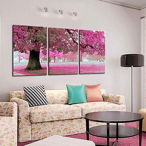 Натянутым холстом искусств Ботанический весной розовое дерево Набор из 3 Lightinthebox 2577.000