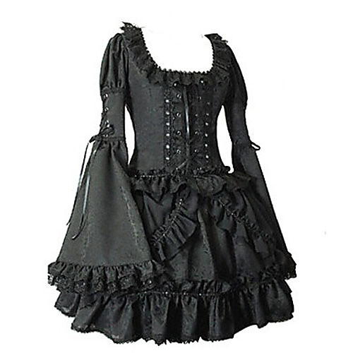 Длинные Flare рукав короткий черный хлопок Готическая Лолита платье