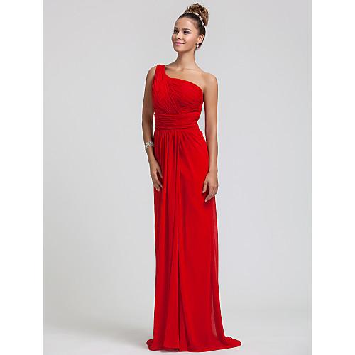 оболочкой / колонки одно плечо длиной до пола раскол переднего жоржет платье невесты Lightinthebox 3866.000