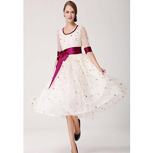 TS Простота печати Цветочные шифоновое платье макси Свинг Lightinthebox 1256.000