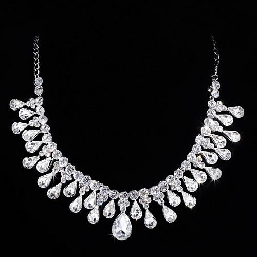 Нежные серебряные колесные диски с покрытием Ясно Циркон & Rhinestone Свадьба Свадебная комплект ювелирных изделий (в том числе ожерелья, серьги) Lightinthebox 1121.000
