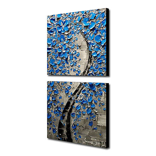 Ручной росписью маслом Цветочные Лаки Синий с растянутыми кадр Набор из 2-1309 FL0893 Lightinthebox 4296.000
