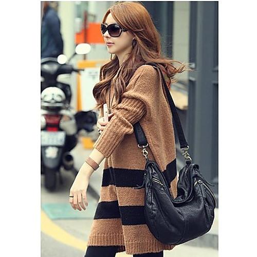 Женские Кофе с капюшоном полосой свободные свитера Lightinthebox 1116.000