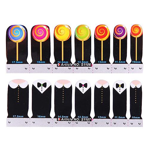 24PCS Мультфильм Полное покрытие ногтей наклейки Lollipop & Bow Tie Pattern (2 смешанную картину, 2x12PCS) Lightinthebox 128.000