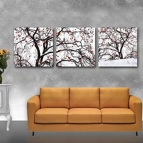 Натянутым холстом искусств Ботанический Пунктирные Слива Набор из 3 Lightinthebox 2148.000