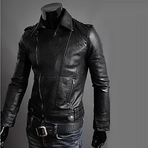 REVERIE UOMO Мужские черные Кожа PU Slim Fit Прохладный Куртка Lightinthebox 1374.000