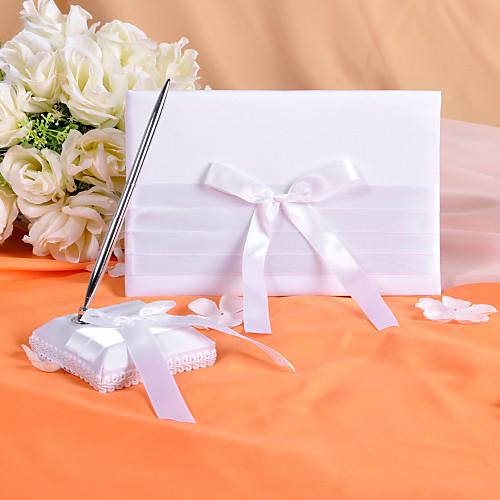 чистый белый гостевая книга и перо набор с лентой лука Lightinthebox 652.000