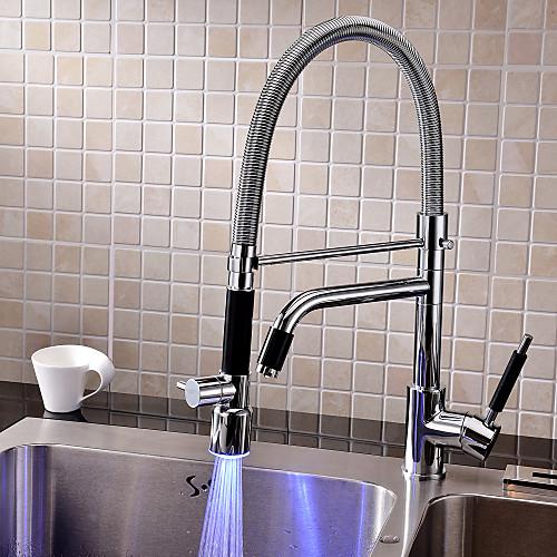Высокий хромированный вытяжной смеситель для кухни с LED подсветкой Lightinthebox 4296.000