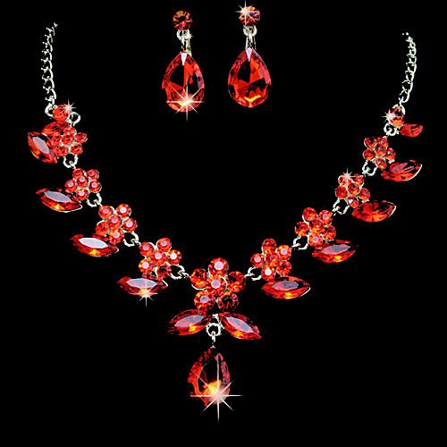 Удивительный сплав с Красной Циркон & Rhinestone набор ювелирных изделий (в том числе ожерелья, серьги) Lightinthebox 317.000