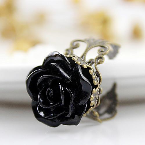 Черная роза цветок открытой кольцо Lightinthebox 128.000