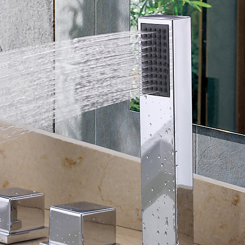 Современные светодиодные Водопад Настенный стекла Носик ванной кран с ручным душем Lightinthebox 7476.000