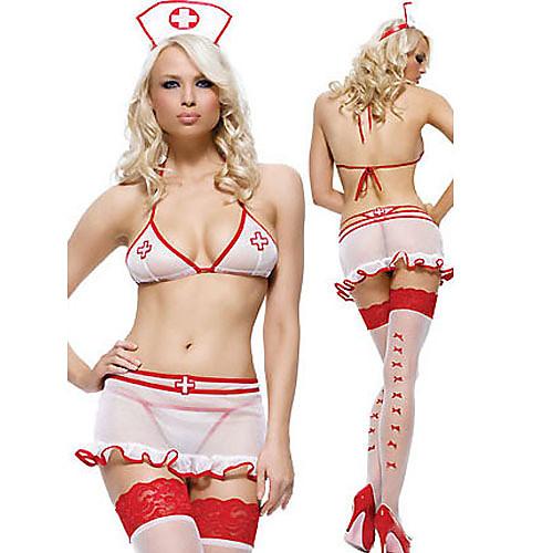 сексуальный и сладкий белый костюм медсестры Lightinthebox 858.000