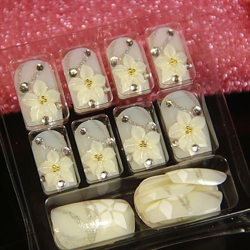 24PCS белые цветы Rhinestone Щепка Stripes Полный Советы ногтей крышки Lightinthebox 257.000