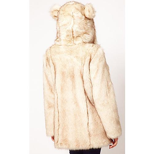 Длинным рукавом с капюшоном искусственного меха партии / случайных пальто Lightinthebox 1881.000