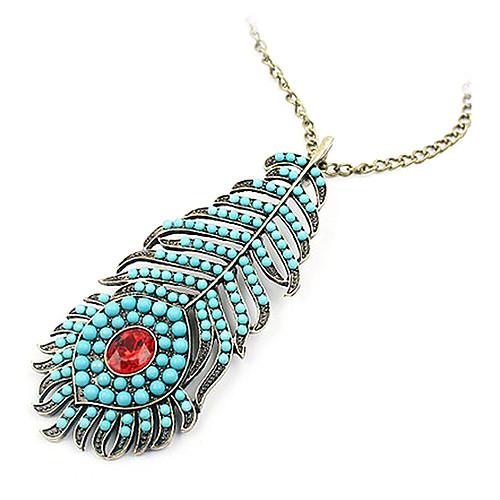 Чешский ретро синие перо павлина длинную цепь ожерелья свитера N439 Lightinthebox 128.000