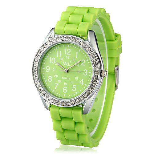 Женские кварцевые аналоговые наручные часы со стразами и силиконовым ремешком(цвета в ассортименте) Lightinthebox 192.000