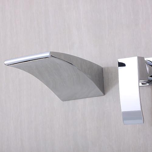 Смеситель-водопад настенный изогнутой формы с хромированной отделкой