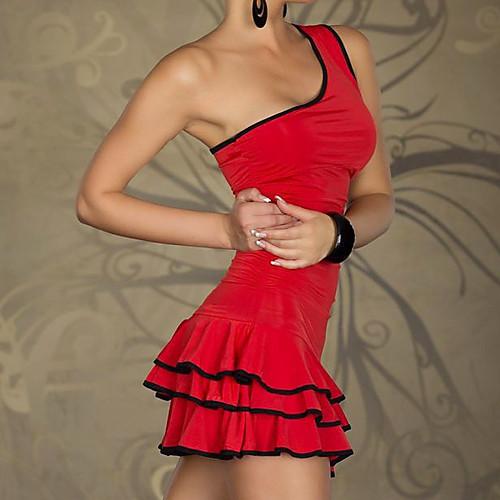 Клуб Girl одно плечо морщин красный / черный костюм Lycra платье Женские Lightinthebox 601.000