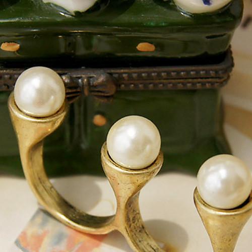 Европейских и американских ретро Простой перлы Двойные безымянный палец Lightinthebox 42.000