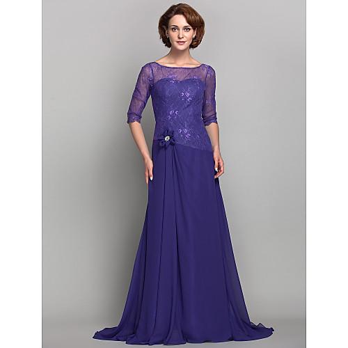 Платье для дам из шифона и кружева длиной до пола с вырезом лодочкой и рукавом 3/4 Lightinthebox 5070.000