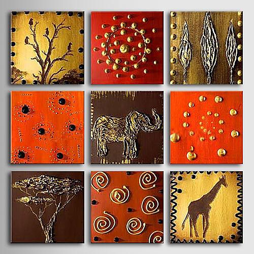 ручная роспись масляной живописи животных с растянутой кадров - набор из 9 Lightinthebox 7605.000