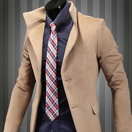 REVERIE UOMO Мужская Camel корейских Длинные Slim Fit Твид Одноместный груди пальто Lightinthebox 1589.000