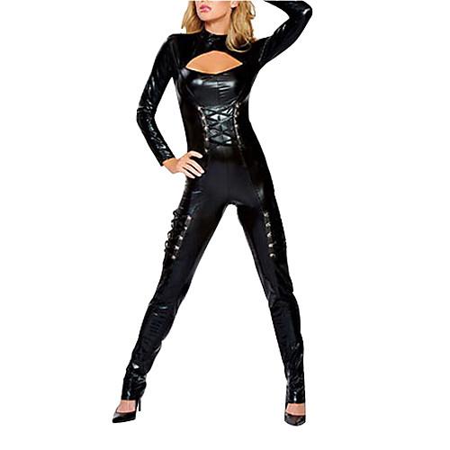 Сексуальная Женщина-кошка Черная Кожа PU Купальник женский костюм Halloween Lightinthebox 1288.000
