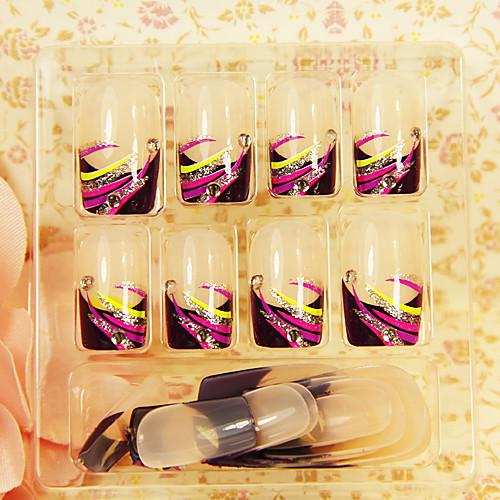Цветные полоски 24PCS Rhinestone Полный Советы ногтей крышки Lightinthebox 257.000