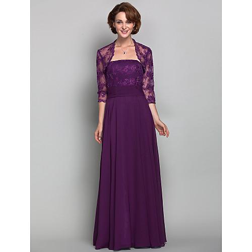 Платье вечернее/для выпускного, без бретелек, длина до пола, материал шифон и кружева Lightinthebox