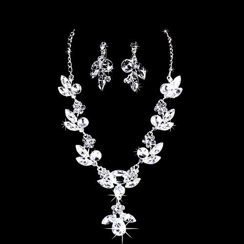 Великолепный серебряный сплав с покрытием Ясно Циркон & Rhinestone Свадебные ожерелье серьги комплект ювелирных изделий Lightinthebox 317.000