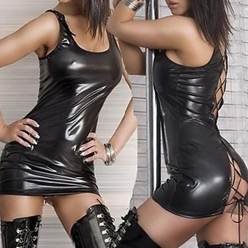 Ночной клуб танцор Черная искусственная кожа платье Ультра сексуальная форма Lightinthebox 730.000