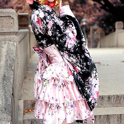 Великолепная Black Pattern Сакура атласная Делюкс Wa Лолита платья кимоно Lightinthebox