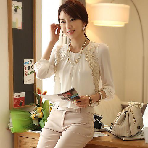Сращивание корейской вышивки CHAOLIU женщин кружева шифона с длинным рукавом дна рубашку Lightinthebox 816.000