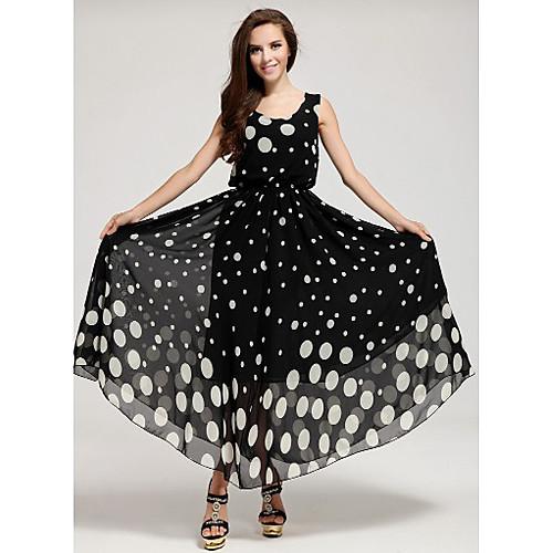ShaMaQiNuo Женские Dots печати длиной до пола платье тельняшки Lightinthebox 1116.000