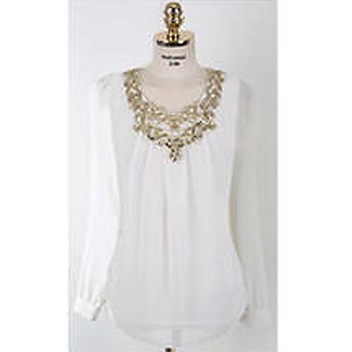Шифоновая блузка с вязанными крючком кружевными вставками Lightinthebox 644.000