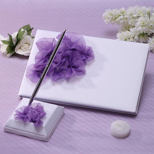 Элегантный гостевая книга свадьбы и Pen Set с сиренью Цветочный Lightinthebox