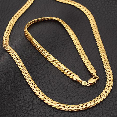 Набор позолоченных ювелирных украшений для мужчин (цепь и браслет) Lightinthebox