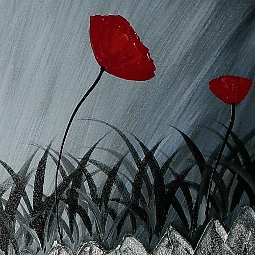 Ручной росписью маслом Цветочные Маки с растянутыми Frame 1311-FL1143 Lightinthebox 3136.000