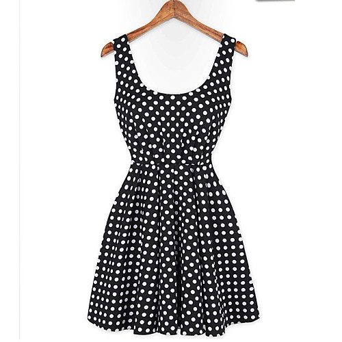 MFL горошек голой спине черное платье Lightinthebox 730.000