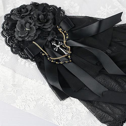 Темная роза ручной Черное кружево хлопок Готическая Лолита головной убор с крестом Lightinthebox 858.000