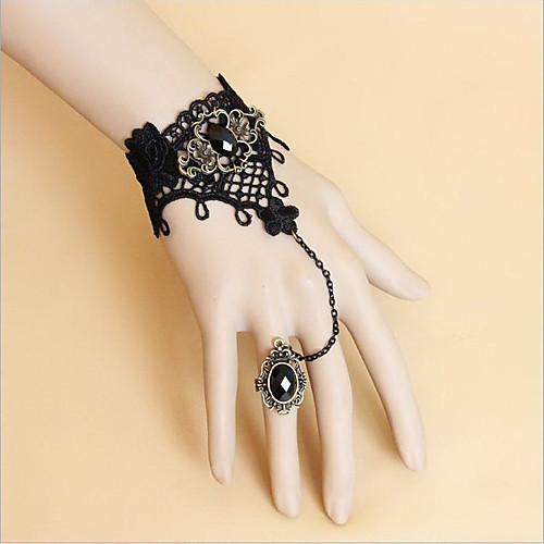 Черное кружево Блестящий браслет и кольцо Obsidian Готическая Лолита Набор принадлежностей